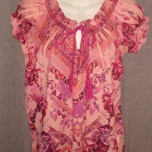 Energe World Wear Top Blouse PS Petite Small Shirt